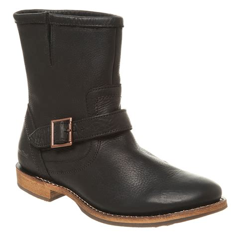 mens caterpillar jonas split top buckle boot black leather