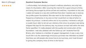 mattress review of the week quot excellent customer service