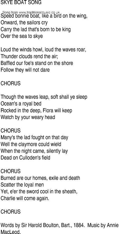 skye boat song lullaby irish music song and ballad lyrics for skye boat song