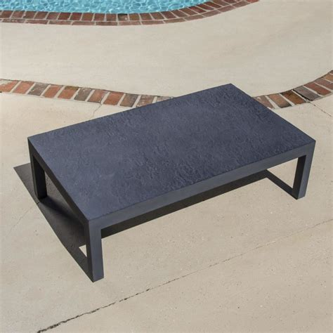 Camellia Cast Aluminum Patio Coffee Table Modern Modern Outdoor Coffee Table