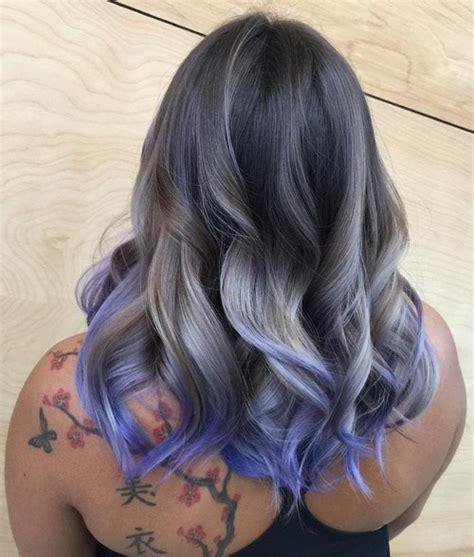 salt and pepper hair with purple highlights dark brown hairs