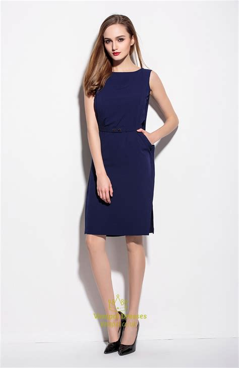 Simple Blue Dress simple navy blue sleeveless dress with belt val