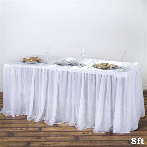 8 ft table skirt 8ft 3 layer tulle tutu satin pleated table skirt white
