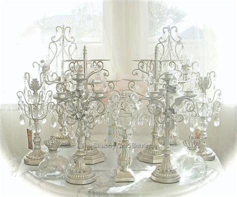 hamptons antique white 68cm candle four arm huge