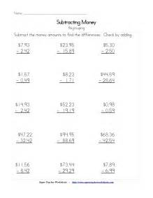 adding and subtracting money worksheet word problems