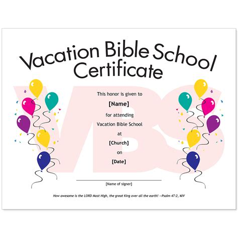 sle of vbs certificate essential church certificates children s edition