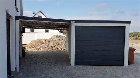 carport anbau einzelgarage mit sektionaltor und anbau carport