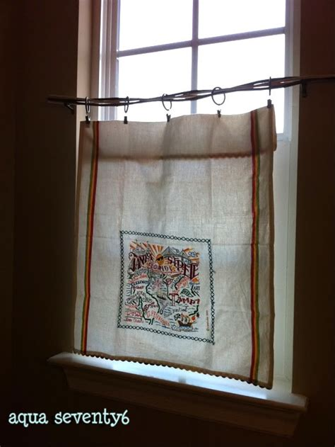 towel curtains tea towel curtain homemade curtains pinterest