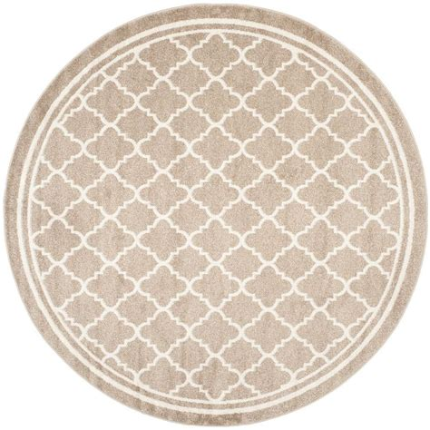 7 X 7 Area Rugs Safavieh Amherst Wheat Beige 7 Ft X 7 Ft Indoor Outdoor Area Rug Amt422s 7r The Home Depot