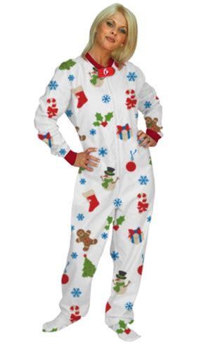 footed pajamas holiday cheer adult fleece dropseat