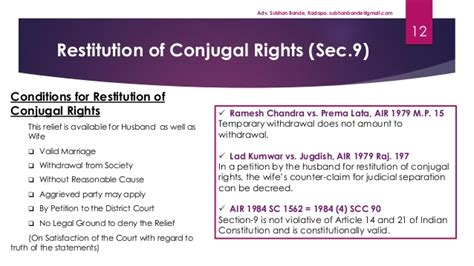 section 9 restitution of conjugal rights hindu marriage act 1955 by adv subhan bande kadapa
