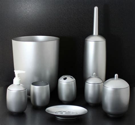 silver painted luxury acrylic bathroom accessories sets