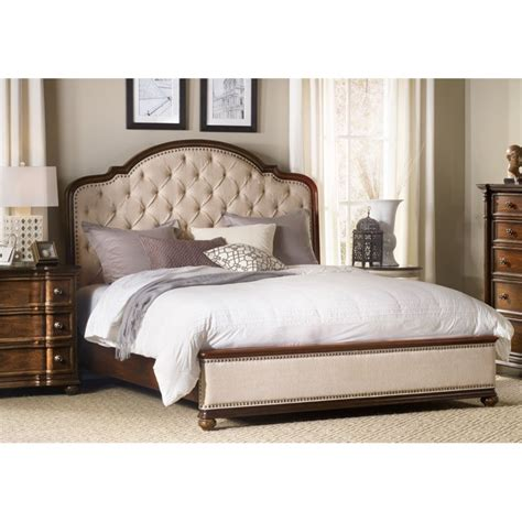 King Bed Rails Wood Furniture Leesburg Upholstered King Bed With Wood Rails In Mahogany 5381 90966
