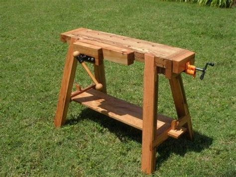 saw benches nice traveling bench and sawhorse woodworking benches pinterest small shops