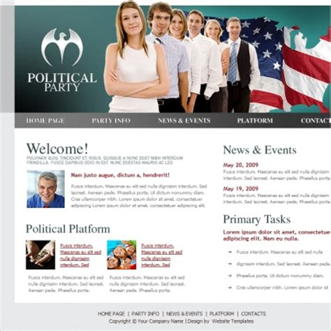 templates for voting website political party template free website templates in css