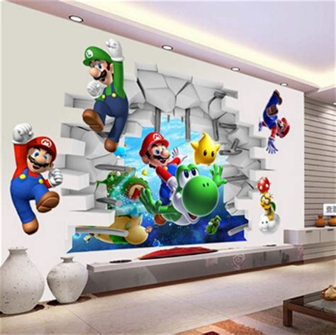 Wall Stickers Mario vue 3d cartoon art stickers muraux stickers super mario