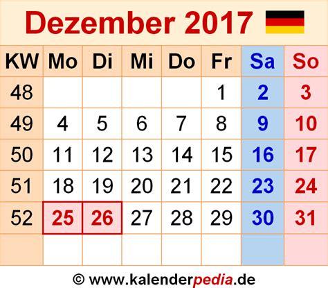 Kalender 2017 Dezember Kalender Dezember 2017 Als Word Vorlagen
