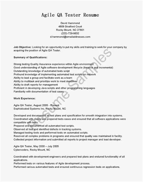 agile testing resume sle 28 images 100 application