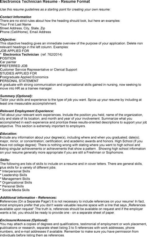 free sle resume electronics technician electronic technician resume sle 28 images sle headline for resume 28 images sle resume
