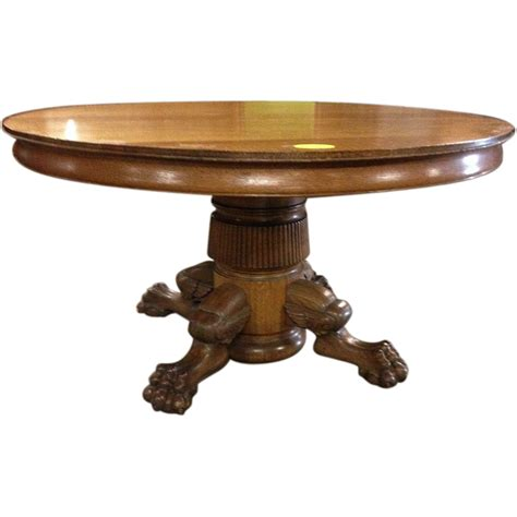 Oak Pedestal Dining Table Oak Dining Table Paw Foot Pedestal 54 Inch 6 Leaves