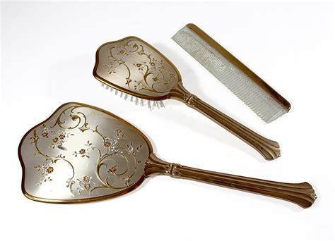 vintage vanity set mirror brush comb