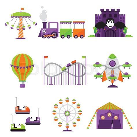 theme park vector amusement park vector flat illustration clipart