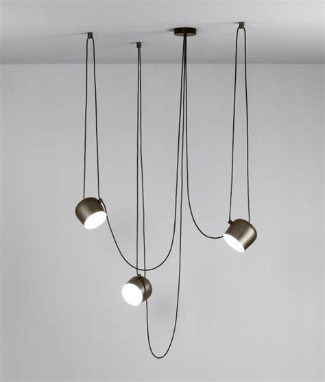 Aim The Larger Offset Pendant by Flos, a dimmable version with a ceiling fixing terminal