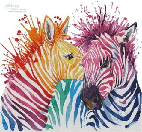 colorful stitches colourful zebras cross stitch chart artecy cross stitch
