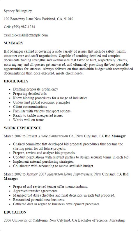 bid manager 1 bid manager resume templates try them now