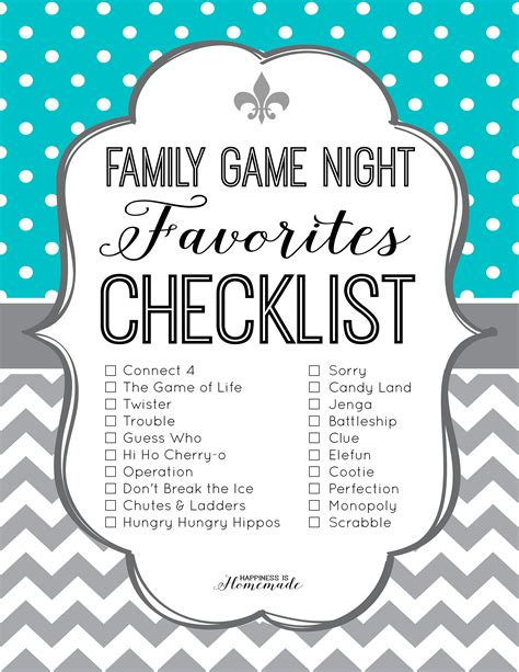 printable games about family family game night favorites checklist family game night