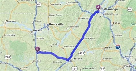 Mapquest Home by Driving Directions From Chattanooga Tennessee To Cullman