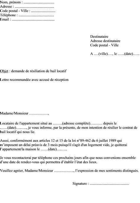 Résiliation De Travail Lettre Modele Preavis Bail Mutation Document