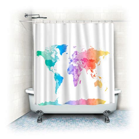 pastel shower curtains custom shower curtains pastel watercolor world map on white