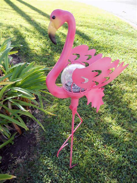 pink flamingo patio lights solar powered pink flamingo garden stake light crackle