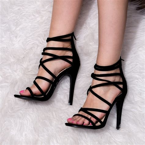black open toe high heels uzi black sandals shoes from spylovebuy