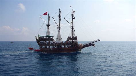 small boat on a pirate ship ancient pirate ship sailing on the sea stock video footage