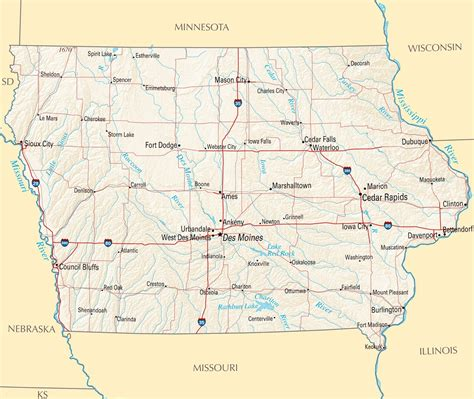 iowa maps map of iowa state map of usa