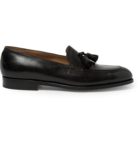 lobb loafers lobb truro leather tasselled loafers in black for