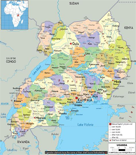 map of uganda political map of uganda ezilon maps