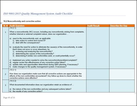 iso 9001 checklist template iso 9001 checklist audit for iso 9001 2015