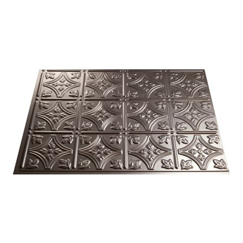 thermoplastic backsplash tiles shop fasade 18 5 in x 24 5 in brushed nickel thermoplastic