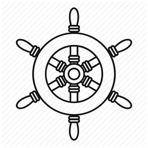 boat wheel outline boat line old outline ship steering wheel icon