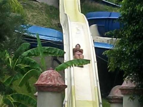 marilu going down on the kamikaze slide in agua caliente