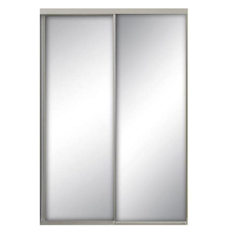 Interior Door Frames Home Depot 59 In X 96 In Savoy Mirror White Painted Steel Frame Interior Sliding Door Sav 5996wh2s The