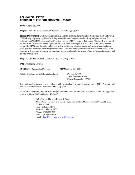 cover letter for rfp rfp cover letter exles best letter sle