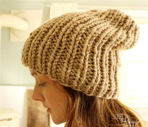 knitting pattern hat needles slouchy knit purl hat simplymaggie