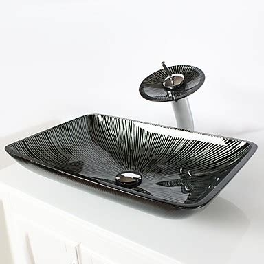 Black And White Vessel Sink by Black White Rectangular Tempered Glass Vessel Sink With