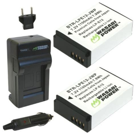 wasabi power battery 2 pack and charger for canon lp e12