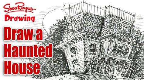 how to draw a haunted house how to draw a haunted house spoken tutorial for halloween youtube