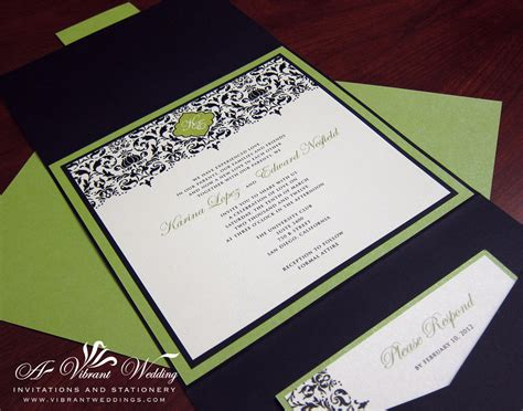 Green Wedding Invitations black and green wedding invitation a vibrant wedding